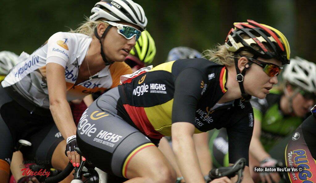 Harderwijk - Netherlands - wielrennen - cycling - radsport - cyclisme - Tenniglo Moniek (Netherlands / Rabobank Liv Women Cycling Team) - D'Hoore Jolien (Wiggle High5) pictured during De Parel van de Veluwe a one day race for women - vrouwen - feminin - photo Anton Vos/Cor Vos ©2016