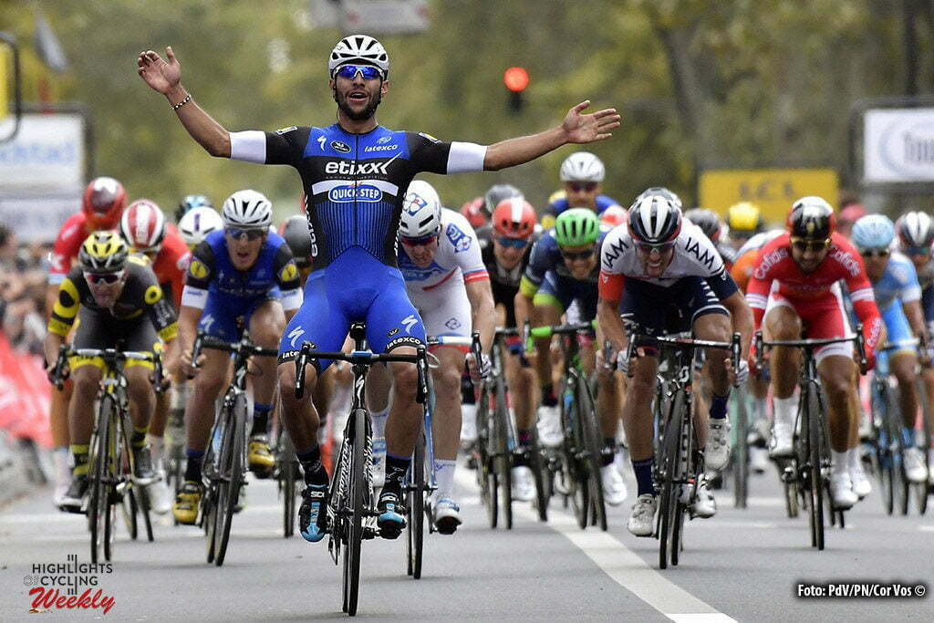 Tours - France - wielrennen - cycling - radsport - cyclisme - Gaviria Rendon Fernando (Columbia / Team Etixx - Quick Step) celebrates the victory before Arnaud Demare (Team FDJ) and Jonas Vangenechten (Belgium / IAM Cycling) picured during the 110th edition of the Paris-Tours cycling race with start in Dreux and finish in Tours on October 09, 2016 in Tours, France, 9/10/2016 - photo PdV/PN/Cor Vos © 2016