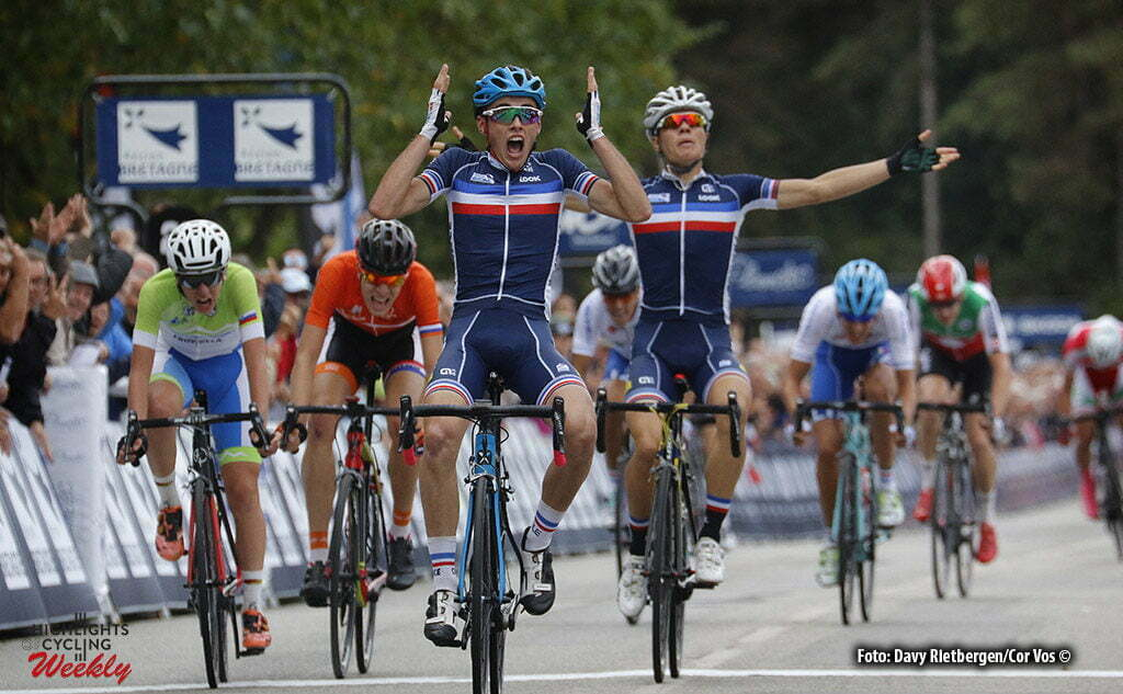 Plumelec - France - wielrennen - cycling - radsport - cyclisme - Nicolas Mabbe (France) - Emilien Jeanniere (France) - Tadje Pogacar (Slovenia) pictured during Europeen Championships Cycling - Roadrace Junior men in Plumelec, France - photo Davy Rietbergen/Cor Vos © 2016