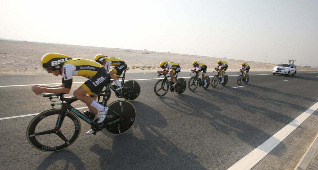 Doha - Qatar - wielrennen - cycling - radsport - cyclisme - team LottoNL - Jumbo pictured during TTT men Team Time Trial of the UCI Road World Championships 2016 in Qatar - photo Davy Rietbergen/Cor Vos © 2016
