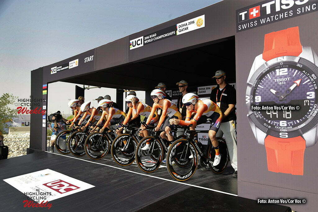 Doha - Qatar - wielrennen - cycling - radsport - cyclisme - illustration - Boels Dolmans Cycling Team pictured during TTT women Team Time Trial of the UCI Road World Championships 2016 in Qatar - photo Anton Vos/Cor Vos © 2016