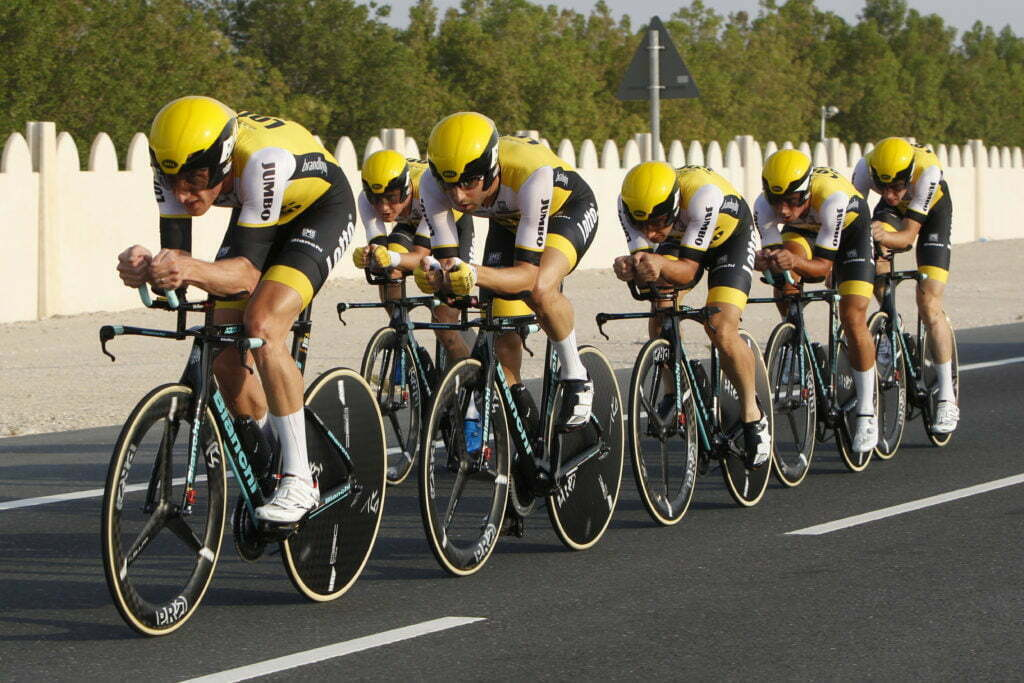 Doha - Qatar - wielrennen - cycling - radsport - cyclisme - Team Lotto Nl - Jumbo pictured during TTT men Team Time Trial of the UCI Road World Championships 2016 in Qatar - photo Dion Kerckhoffs/Cor Vos © 2016