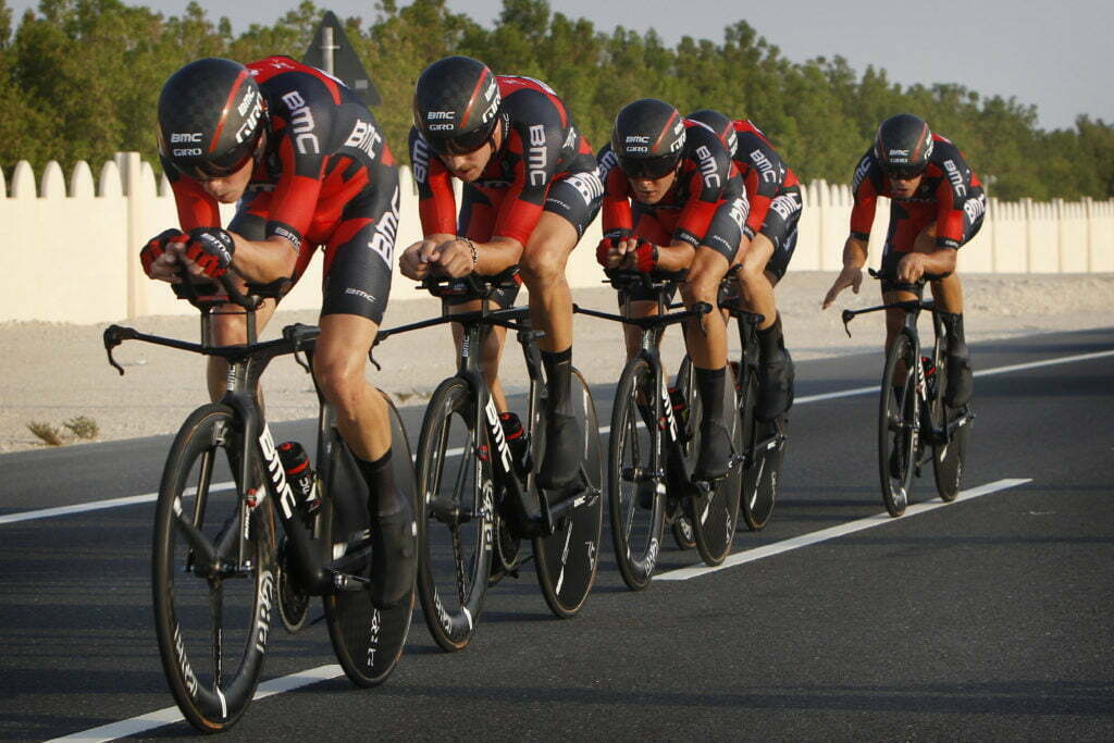 Doha - Qatar - wielrennen - cycling - radsport - cyclisme - BMC Racing pictured during TTT men Team Time Trial of the UCI Road World Championships 2016 in Qatar - photo Dion Kerckhoffs/Cor Vos © 2016
