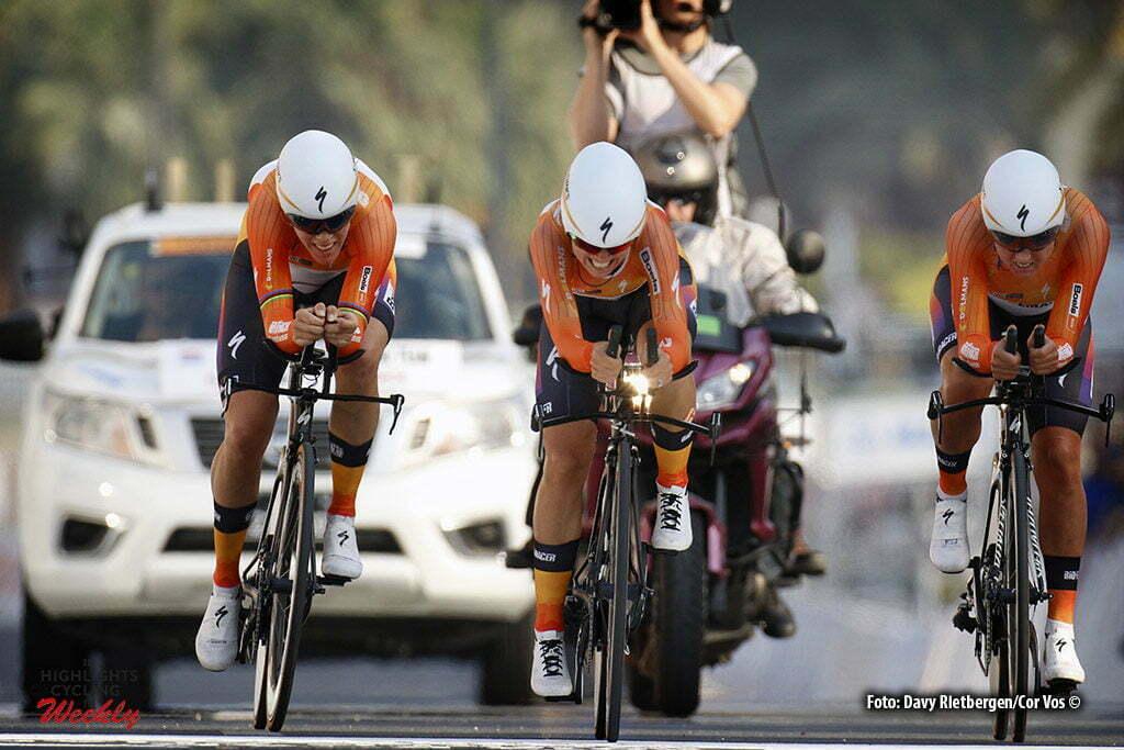 Doha - Qatar - wielrennen - cycling - radsport - cyclisme - Van Dijk Ellen (Netherlands / Boels Dolmans Cycling Team) - Stevens Evelyn (USA / Boels Dolmans Cycling Team) - Blaak Chantal (Netherlands / Boels Dolmans Cycling Team) pictured during TTT women Team Time Trial of the UCI Road World Championships 2016 in Qatar. - photo Davy Rietbergen/Cor Vos © 2016