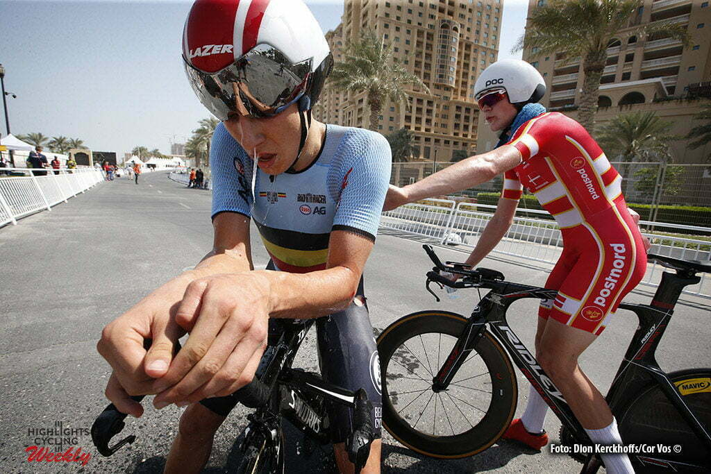 Doha - Qatar - wielrennen - cycling - radsport - cyclisme - Jasper Philipsen (BEL) - Julius Johansen (DEN) pictured during the ITT junior men Time Trial Individual of the UCI Road World Championships 2016 in Qatar - photo Dion Kerckhoffs/Cor Vos © 2016