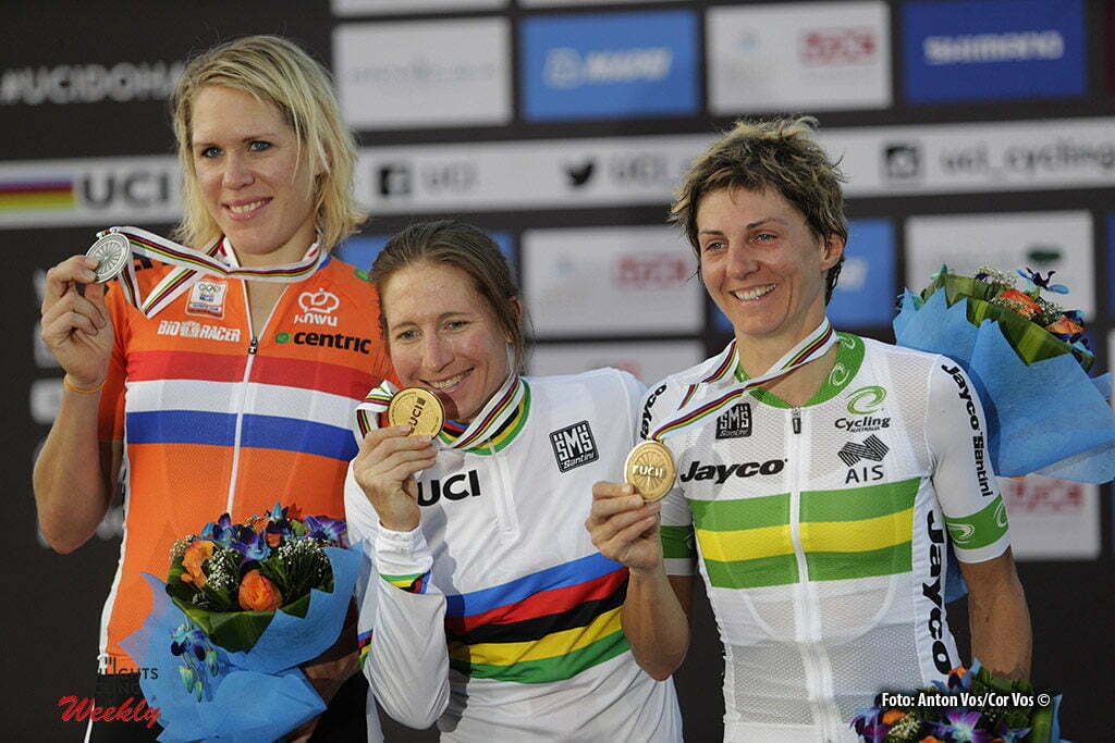 Doha - Qatar - wielrennen - cycling - radsport - cyclisme - ITT women Time Trial Individual - Neben Amber (USA / Be Pink) - Van Dijk Ellen (Netherlands / Boels Dolmans Cycling Team) - Garfoot Katrin (Australia / Orica AIS) pictured during The UCI Road World Championships 2016 in Qatar - photo Anton Vos/Cor Vos © 2016