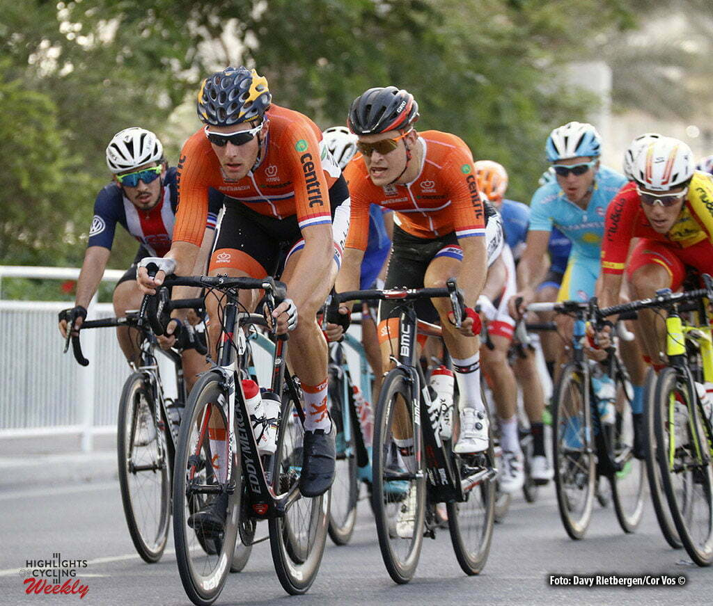 Doha - Qatar - wielrennen - cycling - radsport - cyclisme - Jan Willem van Schip (NED) - Bram Welten (NED) pictured during roadrace U 23 of The UCI Road World Championships 2016 in Qatar - photo Davy Rietbergen/Cor Vos © 2016