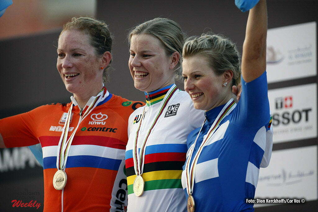 Doha - Qatar - wielrennen - cycling - radsport - cyclisme - Wild Kirsten (Netherlands / Hitec Products) - Dideriksen Amalie (Denmark / Boels Dolmans Cycling Team) - Lepisto Lotta (Finland / Cervelo Bigla) pictured during the Road Race women of the UCI Road World Championships 2016 in Qatar - photo Dion Kerckhoffs/Cor Vos © 2016