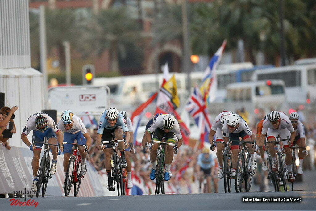 Doha - Qatar - wielrennen - cycling - radsport - cyclisme -Peter Sagan (Slowakia / Team Tinkoff - Tinkov) - Tom Boonen (Belgium / Team Etixx - Quick Step) - Michael Matthews (Australia / Team Orica Greenedge) pictured during the Road Race of the UCI Road World Championships 2016 in Qatar - photo Dion Kerckhoffs/Cor Vos © 2016