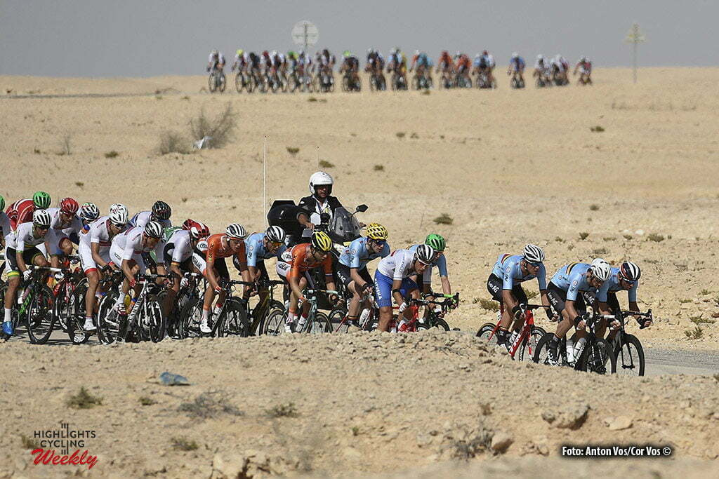 Doha - Qatar - wielrennen - cycling - radsport - cyclisme - Jens Debusschere (Belgium / Team Lotto Soudal) - Tom Boonen (Belgium / Team Etixx - Quick Step) - Oliver Naesen (Belgium / IAM Cycling) - Tom Leezer (Netherlands / Team LottoNL - Jumbo) pictured during the Road Race men of the UCI Road World Championships 2016 in Qatar - photo VK/PN/Cor Vos © 2016