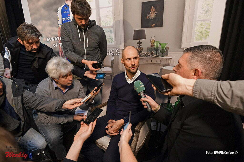 Kortrijk - Belgium - wielrennen - cycling - radsport - cyclisme - Boonen Tom (BEL) Rider of Quick-Step Floors Cycling team talking to the press during the media presentation prior to the official team presentation of the Quick-Step Floors cycling team 2017 at the D-Hotel on January 11, 2017 in Kortrijk, Belgium - photo NV/PN/Cor Vos © 2017
