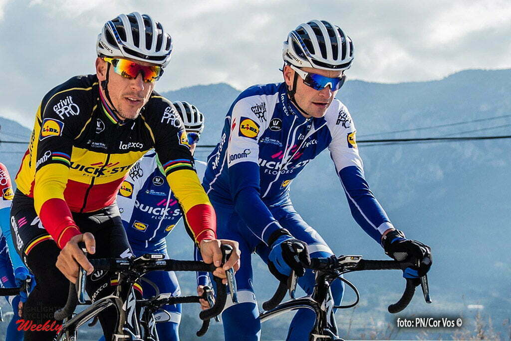 Calpe - Spain - wielrennen - cycling - radsport - cyclisme - Philippe Gilbert and Pieter Serry pictured during a training session of the Quick Step Floors cycling team around Calpe in Spain - photo PN/Cor Vos © 2017