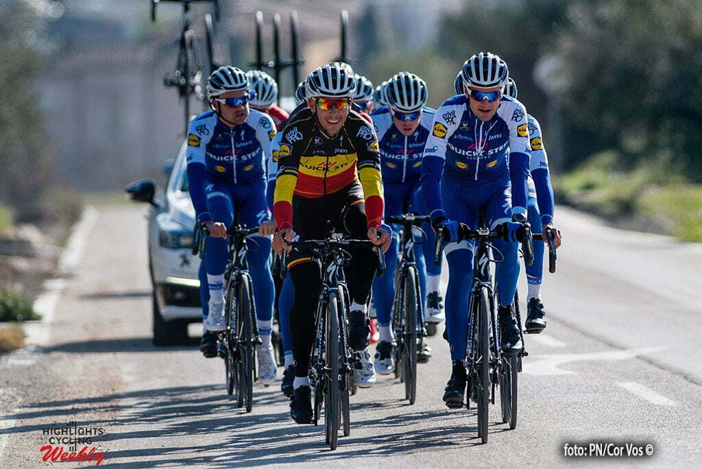 Calpe - Spain - wielrennen - cycling - radsport - cyclisme - Philippe Gilbert and Pieter Serry are leading the group pictured during a training session of the Quick Step Floors cycling team around Calpe in Spain - photo PN/Cor Vos © 2017