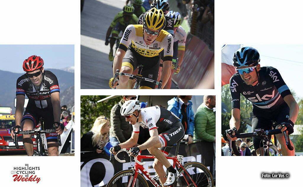Wegwedstrijd: Tom Dumoulin (Giant - Alpecin) - Steven Kruijswijk (LottoNL - Jumbo) - Bauke Mollema (Factory Racing) en Wout Poels (Team Sky)