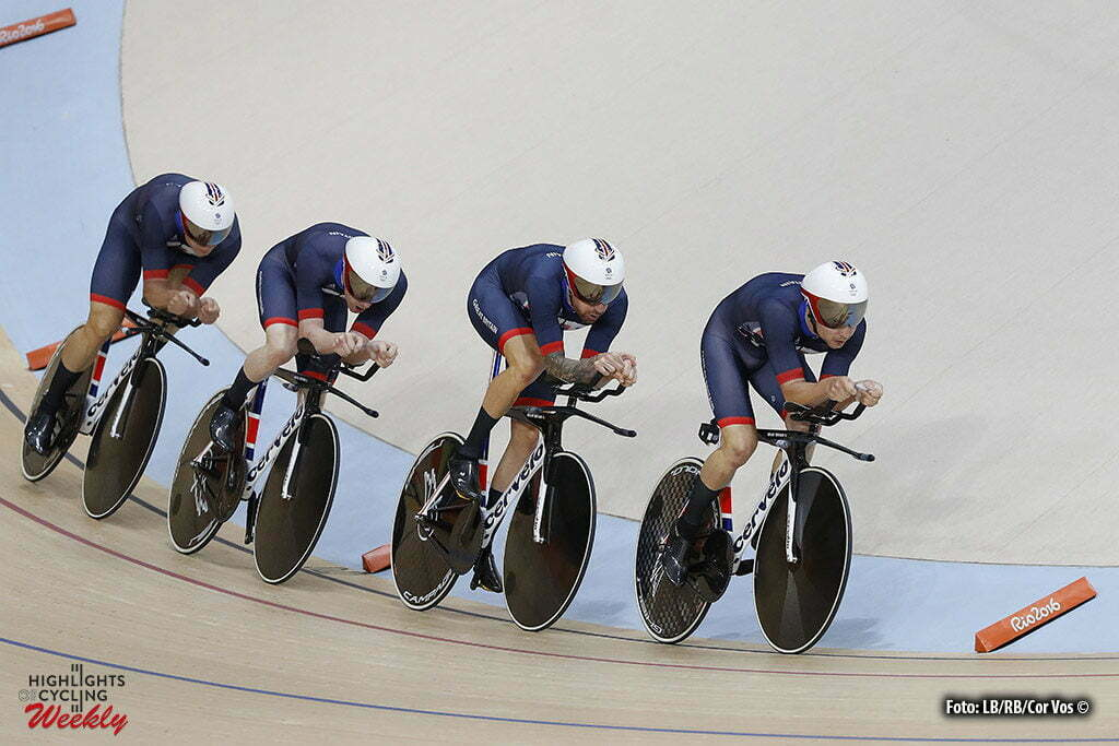 Rio de Janeiro - Brasil - wielrennen - cycling - radsport - cyclisme - Men's Team Pursuit - 12/08/2016 - Bradley Wiggins - Edward Clancey - Stevem Burke - Owain Doull (GBR) pictured during track day-2 - Olympic Games 2016 in Rio - photo LB/RB/Cor Vos © 2016
