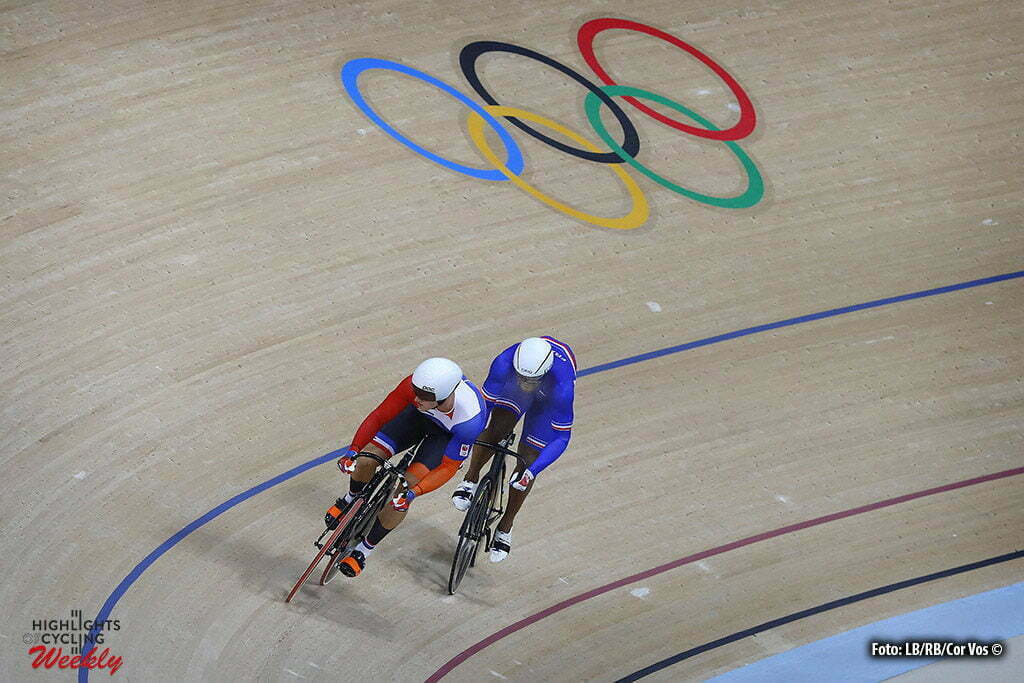 Rio de Janeiro - Brasil - wielrennen - cycling - radsport - cyclisme - Men's Sprint - 13/08/2016 - Gregory Bauge (France) - Jeffrey Hoogland (Netherlands) pictured during track day-3 - Olympic Games 2016 in Rio - photo LB/RB/Cor Vos © 2016