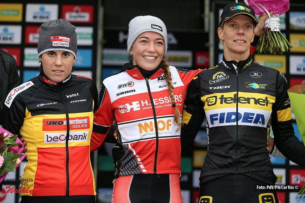 Ruddervoorde - Belgium - wielrennen - cycling - radsport - cyclisme - veldrijden - cyclocross - Sanne Cant (2nd), Sophie de Boer (1st) and Ellen Van Loy (3rd)pictured during the Hansgrohe Superprestige cyclocross in Ruddervoorde for elite women - photo PD/PN/Cor Vos © 2015