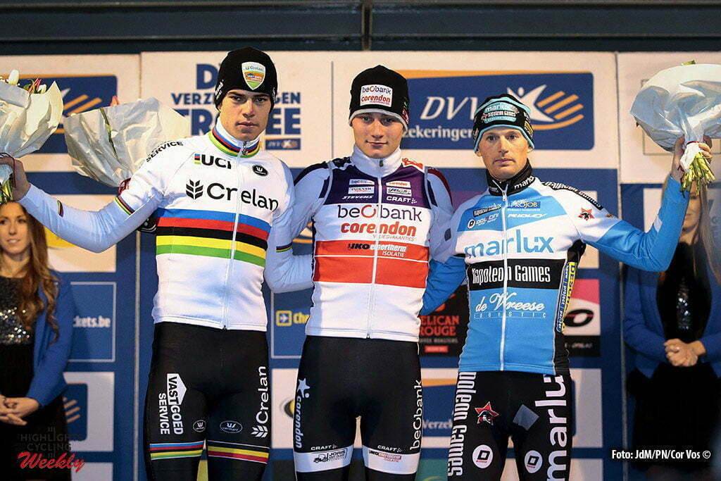 Anterpen - Belgium - wielrennen - cycling - radsport - cyclisme - Van Aert Wout (BEL) of Crelan - Vastgoedservice, Van Der Poel Mathieu (NED) of Beobank - Corendon and Pauwels Kevin (BEL) of Marlux - Napoleongames pictured during DVV Trofee - Schelde-Cross Antwerpen 2016 men - photo JdM/Cor Vos © 2016