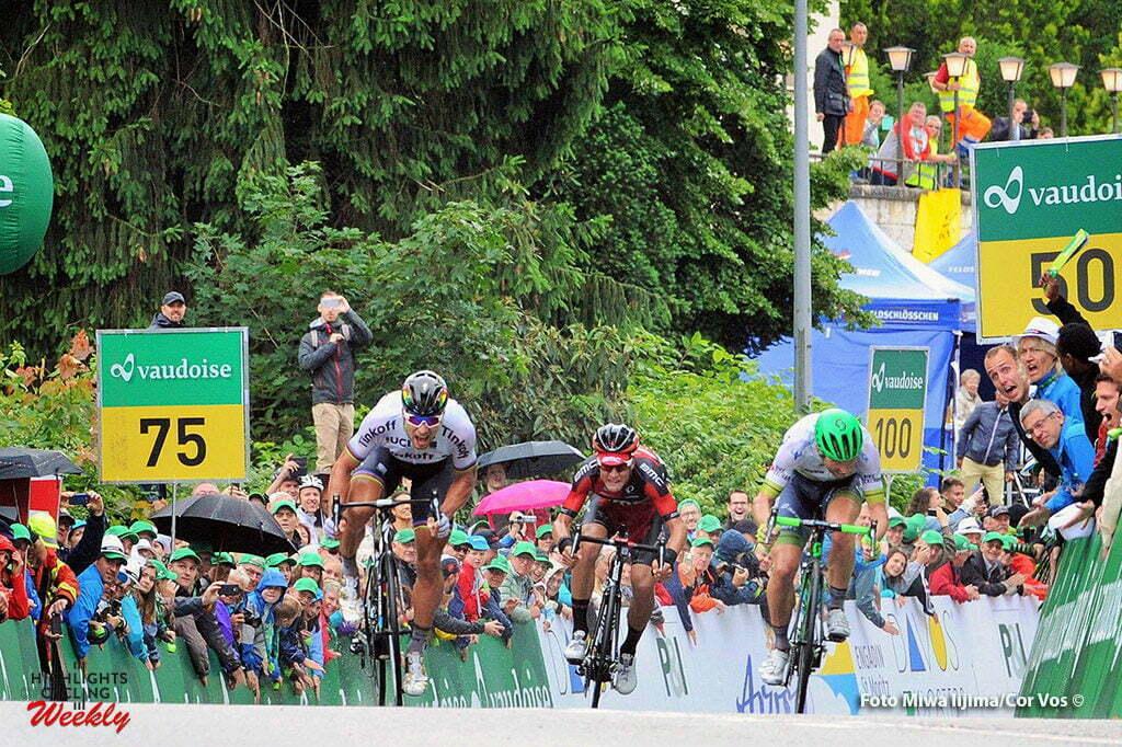 Rheinfelden - Switserland - wielrennen - cycling - radsport - cyclisme - Peter Sagan (Slowakia / Team Tinkoff - Tinkov) - Michael Albasini (Suisse / Team Orica Greenedge) - Silvan Dillier (Suisse / BMC Racing Team) pictured during stage 3 of the Tour de Suisse 2016 from Grosswangen to Rheinfelden (192.6 km) - photo Miwa IIjima/Cor Vos © 2016