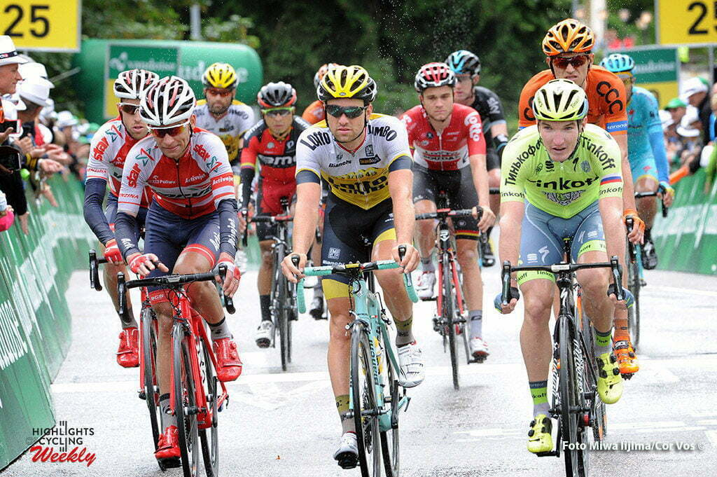 Rheinfelden - Switserland - wielrennen - cycling - radsport - cyclisme - Paweł Cieślik (Verva ActiveJet Pro Cycling Team) - Tom Van Asbroeck (Belgium / Team LottoNL - Jumbo) - Jay Mccarthy (Australia / Team Tinkoff - Tinkov) pictured during stage 3 of the Tour de Suisse 2016 from Grosswangen to Rheinfelden (192.6 km) - photo Miwa IIjima/Cor Vos © 2016