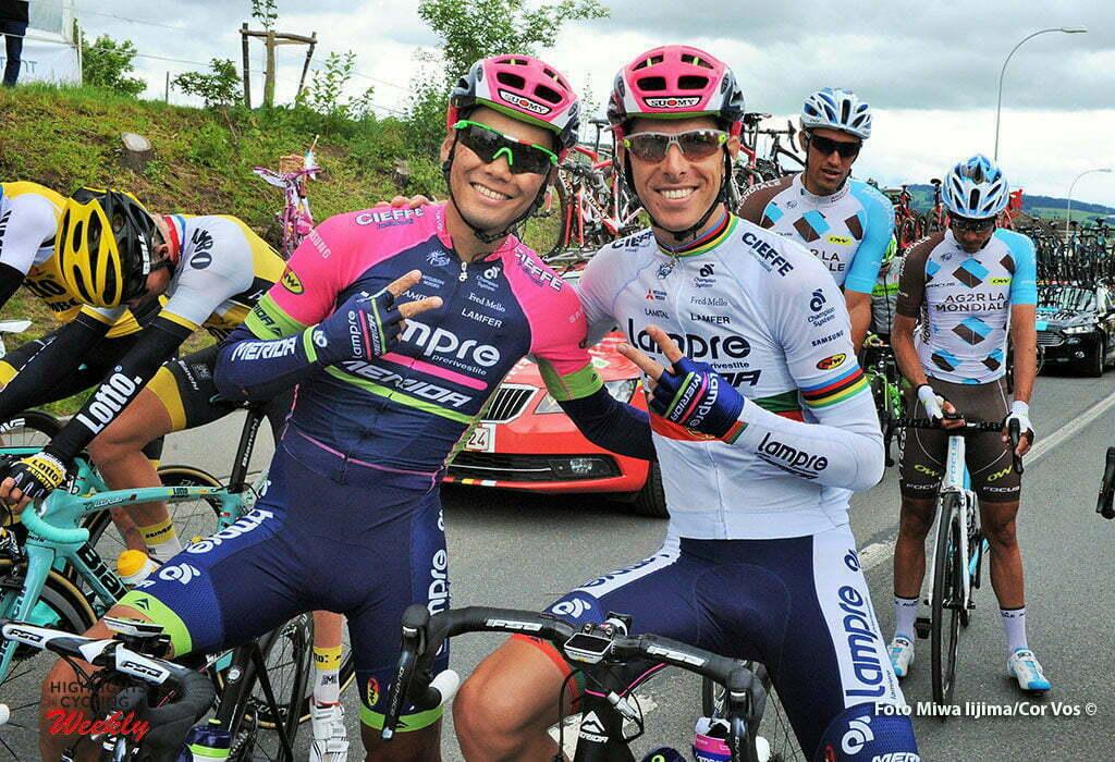 Rheinfelden - Switserland - wielrennen - cycling - radsport - cyclisme - Yukiya Arashiro (Japon / Team Lampre - Merida) - Rui Alberto Faria Da Costa (Portugal / Team Lampre - Merida) pictured during stage 3 of the Tour de Suisse 2016 from Grosswangen to Rheinfelden (192.6 km) - photo Miwa IIjima/Cor Vos © 2016