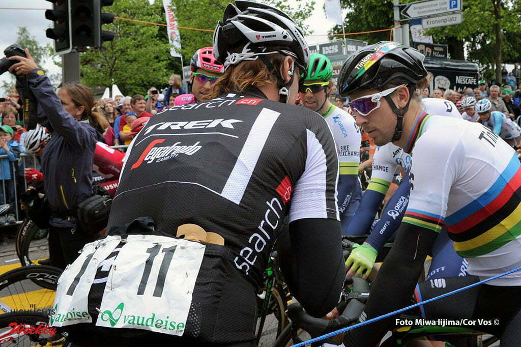 Rheinfelden - Switserland - wielrennen - cycling - radsport - cyclisme - Fabian Cancellara (Suisse / Trek Factory Racing) - Peter Sagan (Slowakia / Team Tinkoff - Tinkov) pictured during stage 3 of the Tour de Suisse 2016 from Grosswangen to Rheinfelden (192.6 km) - photo Miwa IIjima/Cor Vos © 2016
