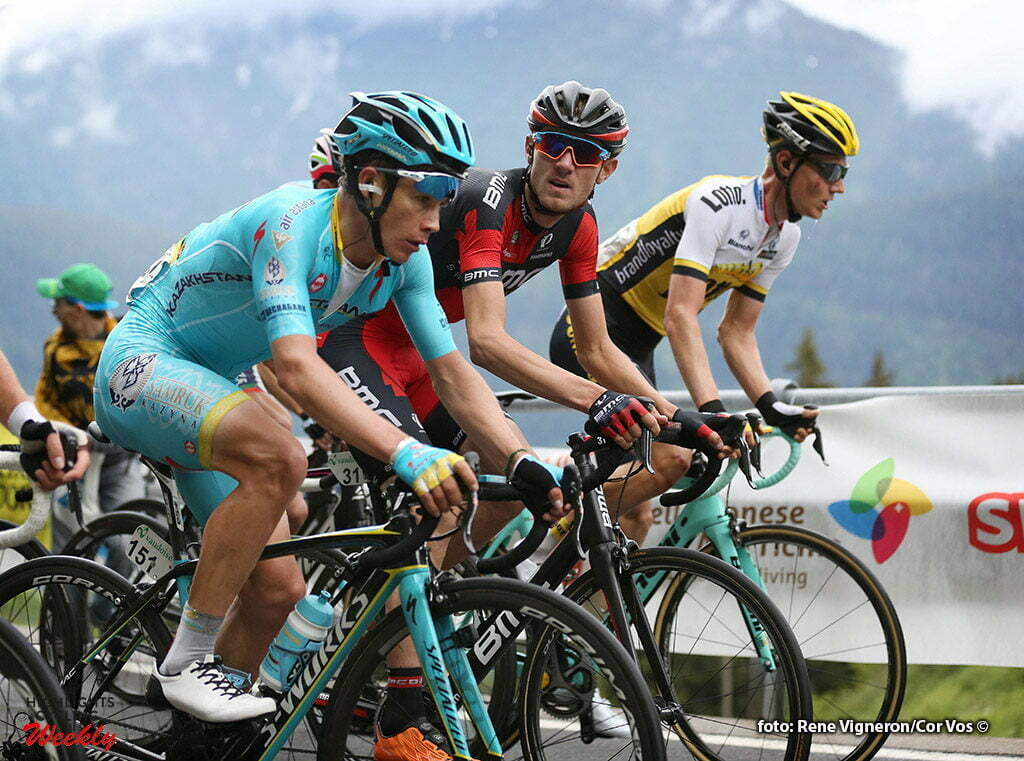 Carì - Switserland - wielrennen - cycling - radsport - cyclisme - Miguel Angel Lopez Moreno (Spain / Team Astana) - Tejay Van Garderen (USA / BMC Racing Team) - Wilco Kelderman (Netherlands / Team Lotto Nl - Jumbo) pictured during stage 5 of the Tour de Suisse 2016 from Brig-Glis to Carì (126,4 km) - photo Rene Vingeron/Cor Vos © 2016