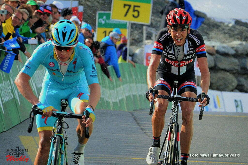 Solden - Austria - wielrennen - cycling - radsport - cyclisme - Lopez Moreno Miguel Angel (Spain / Team Astana) - Warren Barguil (France / Team Giant - Alpecin) pictured during stage 7 of the Tour de Suisse 2016 from Arbon to Solden (224.3 km) - photo Miwa IIjima/Cor Vos © 2016
