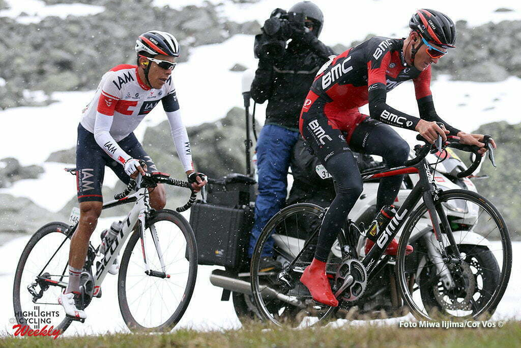 Davos - Switserland - wielrennen - cycling - radsport - cyclisme - Tejay Van Garderen (USA / BMC Racing Team) - Pantano Gomez Jarlinson (Columbia / Iam Cycling) pictured during stage 9 of the Tour de Suisse 2016 from Davos to Davos (117,7 km) - photo Rene Vigneron/Cor Vos © 2016