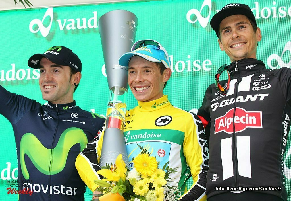 Davos - Switserland - wielrennen - cycling - radsport - cyclisme - Izaguirre Insausti Jon (Spain / Team Movistar) - Lopez Moreno Miguel Angel (Spain / Team Astana) - Warren Barguil (France / Team Giant - Alpecin) pictured during stage 9 of the Tour de Suisse 2016 from Davos to Davos (117,7 km) - photo Rene Vigneron/Cor Vos © 2016
