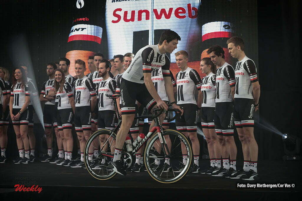 Osnabruck - Munster Airport - Germany - Cycling - radsport - cyclisme - wielrennen - Max Walscheid on the bike - Sam Oomen - Simon Geschke - Zico Waytens - Nikes Arndt pictured during the teampresentation of Team Sunweb in Osnabruck/Munster - foto Davy Rietbergen/Cor Vos © 2017