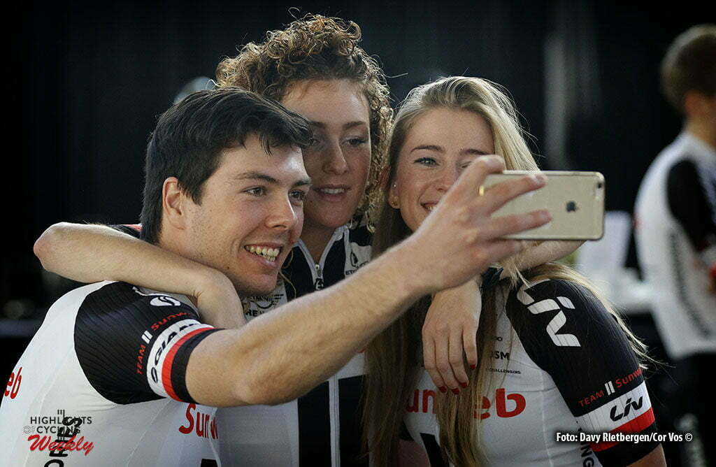 Osnabruck - Munster Airport - Germany - Cycling - radsport - cyclisme - wielrennen - Max Walscheid - Floortje Mackay and Julia Soek pictured during the teampresentation of Team Sunweb in Osnabruck/Munster - foto Davy Rietbergen/Cor Vos © 2017
