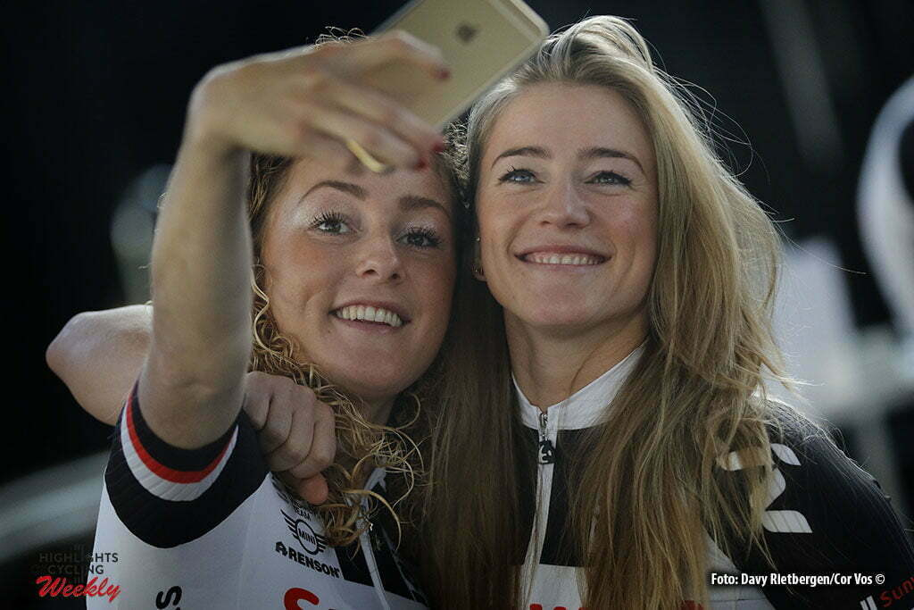 Osnabruck - Munster Airport - Germany - Cycling - radsport - cyclisme - wielrennen - Floortje Mackay and Julia Soek pictured during the teampresentation of Team Sunweb in Osnabruck/Munster - foto Davy Rietbergen/Cor Vos © 2017