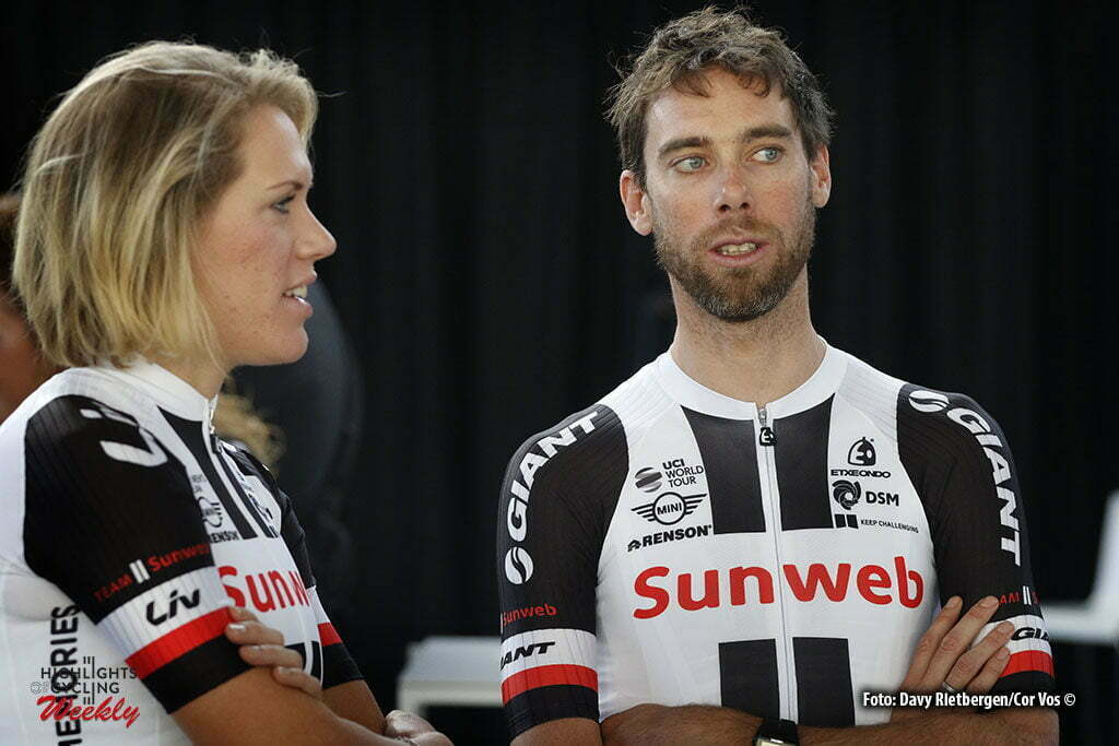Osnabruck - Munster Airport - Germany - Cycling - radsport - cyclisme - wielrennen - Ellen van Dijk - Laurens ten Dam pictured during the teampresentation of Team Sunweb in Osnabruck/Munster - foto Davy Rietbergen/Cor Vos © 2017