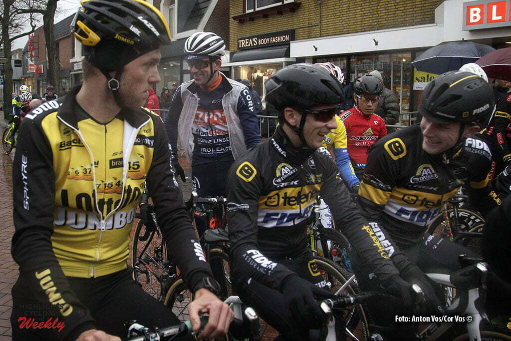 Surhuisterveen - Netherlands - wielrennen - cycling - radsport - cyclisme - Van Kessel Corne (Telenet Fidea Lions) Lars Boom (Netherlands / Lotto NL - Jumbo) - Lars van der Haar (Netherlands/ Telenet Fidea Lions) pictured during the Centrumcross of Surhuisterveen 2017 - photo Anton Vos/Cor Vos © 2017