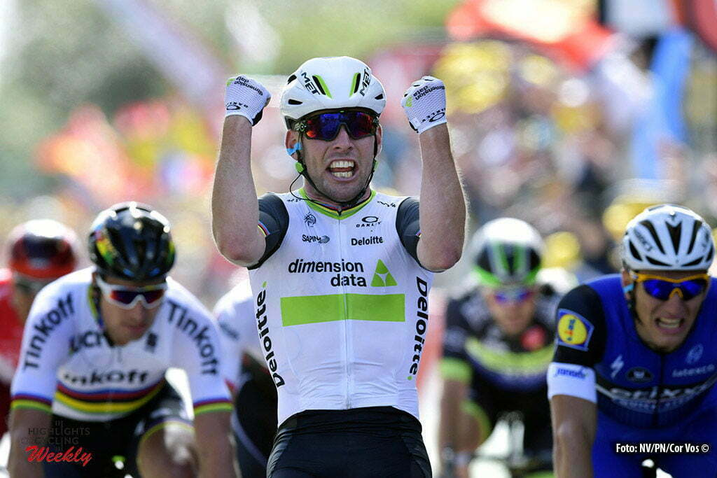 Utah Beach - France - wielrennen - cycling - radsport - cyclisme - Mark Cavendish (GBR / Team Dimension Data) celebrates his win. Marcel Kittel (Germany / Team Etixx - Quick Step) - Peter Sagan (Slowakia / Team Tinkoff - Tinkov) pictured during stage 1 of the 2016 Tour de France form Mont-Saint-Michel - Sainte-Marie-du-Mont (Utah Beach) - photo NV/PN//Cor Vos © 2016