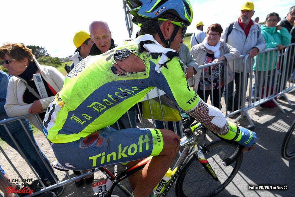 Utah Beach - France - wielrennen - cycling - radsport - cyclisme - Alberto Contador Velasco (Spain / Team Tinkoff - Tinkov) pictured during stage 1 of the 2016 Tour de France form Mont-Saint-Michel - Sainte-Marie-du-Mont (Utah Beach) - photo Pool by Jerome Prevost/Cor Vos © 2016