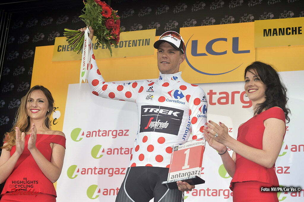Cherbourg-Octeville - France - wielrennen - cycling - radsport - cyclisme - Jasper Stuyven (BEL-Trek Segafredo) in the polka dots jersey and with the combativity prize pictured during stage 2 of the 2016 Tour de France from Saint-Lo to Cherbourg-Octeville, 182.00 km - photo NV Cor Vos © 2016
