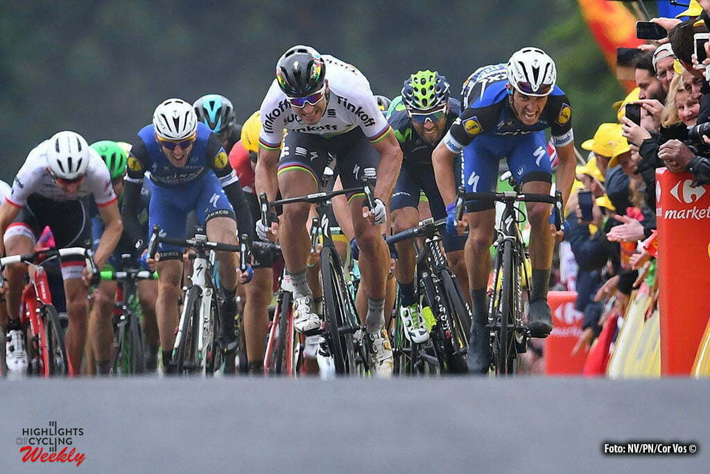 Cherbourg-Octeville - France - wielrennen - cycling - radsport - cyclisme - Peter Sagan (SLK-Tinkoff) - Julian Alaphilippe (FRA-Etixx-QuickStep) pictured during stage 2 of the 2016 Tour de France from Saint-Lo to Cherbourg-Octeville, 182.00 km - photo NV/PN/Cor Vos © 2016