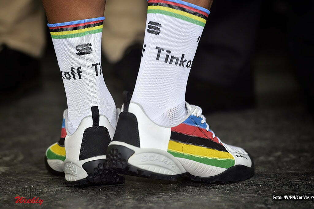 Cherbourg-Octeville - France - wielrennen - cycling - radsport - cyclisme - Rainbow coloured shoes of Peter Sagan (SLK-Tinkoff) pictured during stage 2 of the 2016 Tour de France from Saint-Lo to Cherbourg-Octeville, 182.00 km - photo NV/PN/Cor Vos © 2016