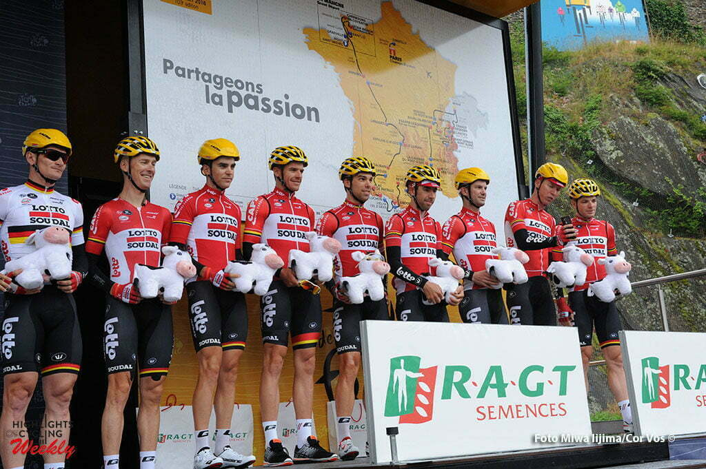 Cherbourg-Octeville - France - wielrennen - cycling - radsport - cyclisme - Team Lotto-Soudal pictured during stage 2 of the 2016 Tour de France from Saint-Lo to Cherbourg-Octeville, 182.00 km - photo Miwa iijima/Cor Vos © 2016