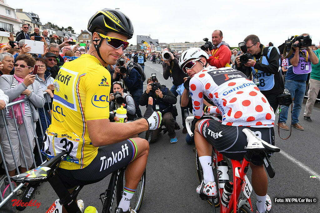 Angers - France - wielrennen - cycling - radsport - cyclisme - Peter Sagan (SLK-Tinkoff) - Jasper Stuyven (BEL-Trek Segafredo) pictured during stage 3 of the 2016 Tour de France from Granville to Angers, 222.00 km - photo NV/PN/Cor Vos © 2016