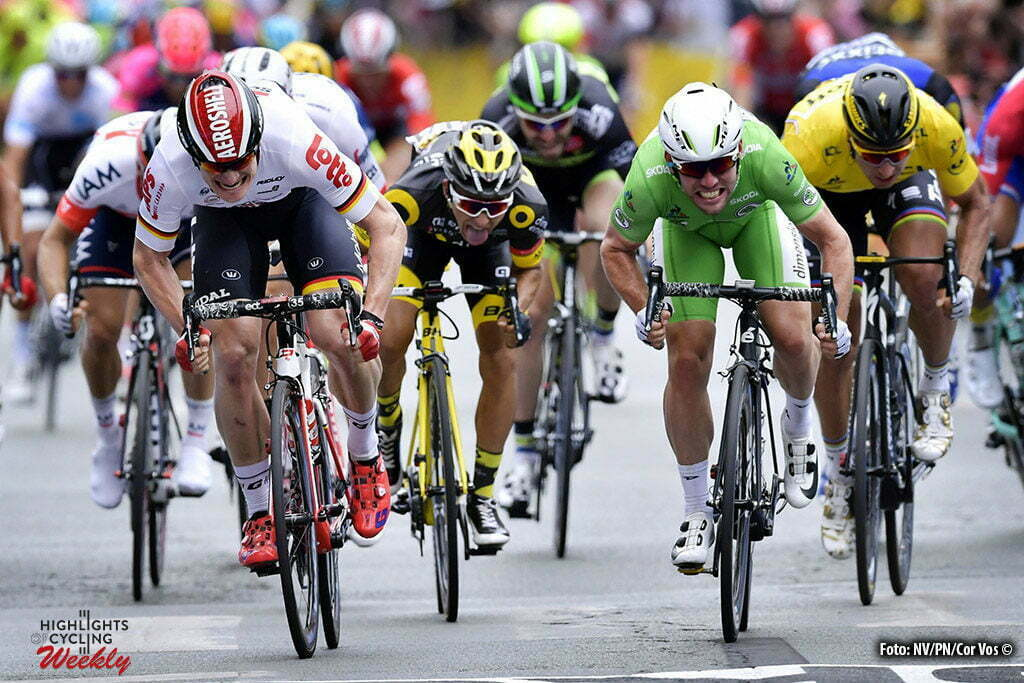 Angers - France - wielrennen - cycling - radsport - cyclisme - Andre Greipel (GER-Lotto-Soudal) - Mark Cavendish (Dimension Data) - Bryan Coquard (FRA-Direct Energie) - Peter Sagan (SLK-Tinkoff) pictured during stage 3 of the 2016 Tour de France from Granville to Angers, 222.00 km - photo NV/PN/Cor Vos © 2016