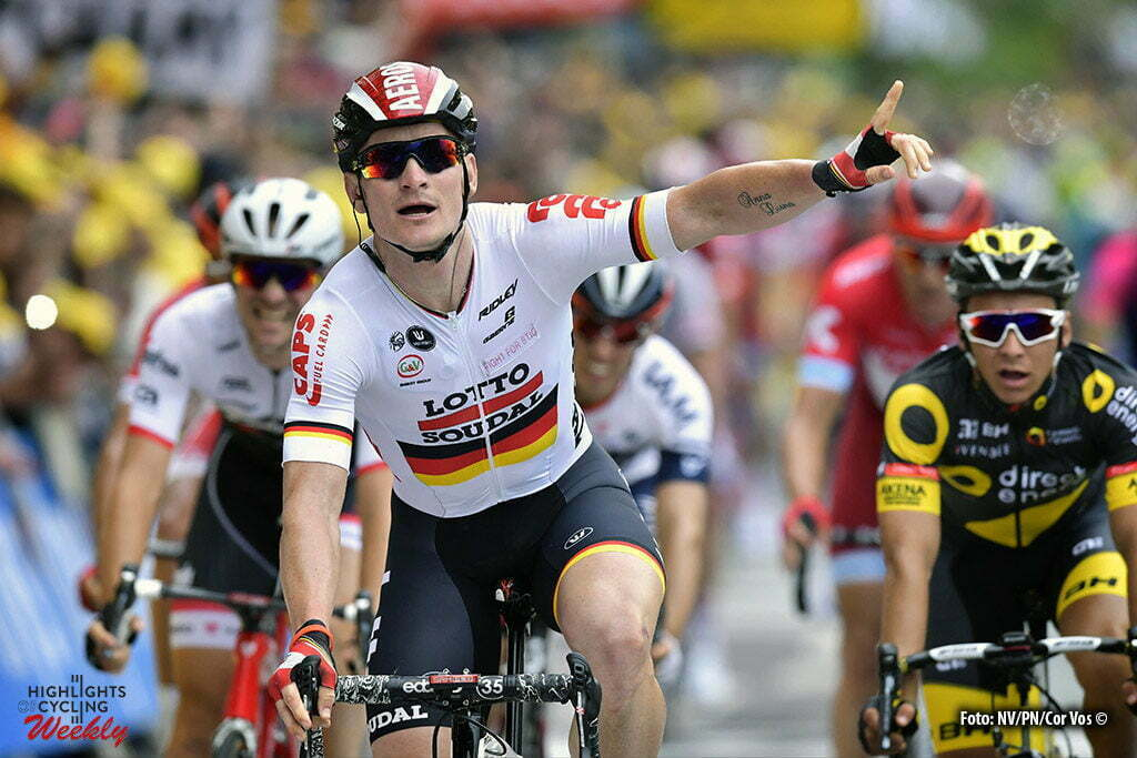 Angers - France - wielrennen - cycling - radsport - cyclisme - Andre Greipel (GER-Lotto-Soudal) raises his hands to claim the victory but lose actually from Mark Cavendish (Dimension Data) pictured during stage 3 of the 2016 Tour de France from Granville to Angers, 222.00 km - photo NV/PN/Cor Vos © 2016