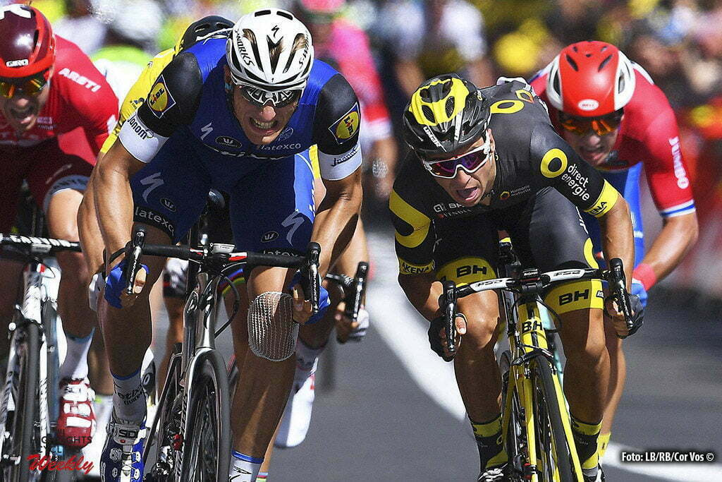 Limoges - France - wielrennen - cycling - radsport - cyclisme - Marcel Kittel (GER-Etixx-QuickStep) - Bryan Coquard (FRA-Direct Energie) - Dylan Groenewegen (NED-LottoNL-Jumbo) pictured during stage 4 of the 2016 Tour de France from Saumur to Limoges, 232.00 km - photo VK/PN/Cor Vos © 2016