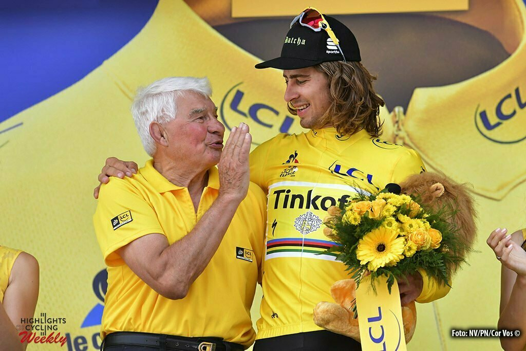 Limoges - France - wielrennen - cycling - radsport - cyclisme - Peter Sagan (SLK-Tinkoff) - Raymond Poulidor pictured during stage 4 of the 2016 Tour de France from Saumur to Limoges, 232.00 km - photo NV/PN/Cor Vos © 2016