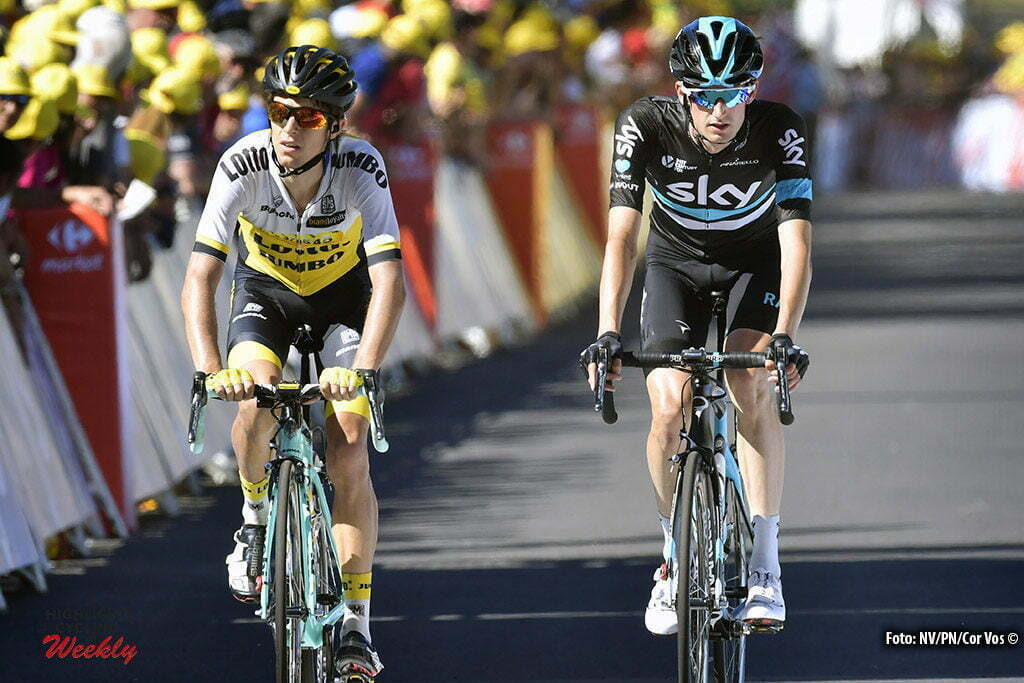 Le Lioran - France - wielrennen - cycling - radsport - cyclisme - George Bennet (NZL-LottoNL-Jumbo) - Wout Poels (NED-Team Sky) pictured during stage 5 of the 2016 Tour de France from Limoges to Le Lioran, 216.00 km - photo NV/PN/Cor Vos © 2016