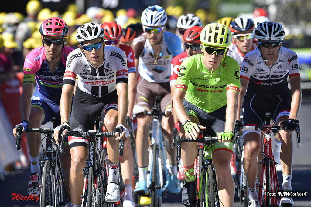 Le Lioran - France - wielrennen - cycling - radsport - cyclisme - Tom Jelte Slagter (NED-Cannondale) - Ramon Sinkeldam (Ned-Giant-Alpecin) pictured during stage 5 of the 2016 Tour de France from Limoges to Le Lioran, 216.00 km - photo NV/PN/Cor Vos © 2016