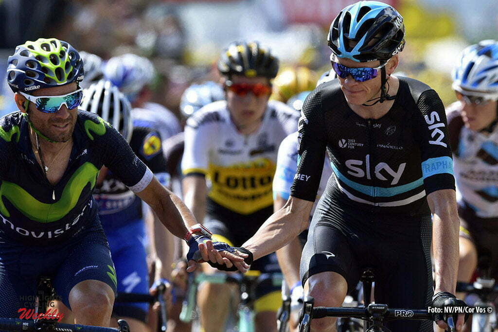 Lac de Payolle - France - wielrennen - cycling - radsport - cyclisme - Chris Froome (GBR-Team Sky) shakes hands withs Alejandro Valverde (SPA-Movistar) pictured during stage 7 of the 2016 Tour de France from L'Isle-Jourdain to Lac de Payolle, 162.00 km - photo NV/PN/Cor Vos © 2016