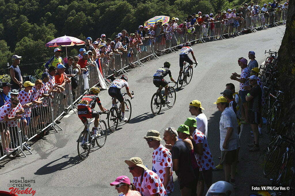Lac de Payolle - France - wielrennen - cycling - radsport - cyclisme - Damiano Caruso (ITA-BMC Racing Team) - Mathias Frank (SUI-IAM Cycling) - Eduaro Sepulveda (ARG-Fortuneo-Vital Concept) - Jarlinson Pantano (COL-IAM Cycling) Illustration picture of the peloton Landscape Bunch Postcard Post card Paysage Carte Postale landschap briefkaart with Supporters and Fans pictured during stage 7 of the 2016 Tour de France from L'Isle-Jourdain to Lac de Payolle, 162.00 km - photo VK/PN/Cor Vos © 2016